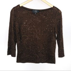 Carmen Marc Valvo Beaded Brown Top | Sz S